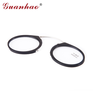 Image 3 - Guanhao Magnetische Leesbril Met Case Neus Clip Ronde Optische Frame Dioptrie Recept Brillen Mannen Vrouwen Draagbare Bril