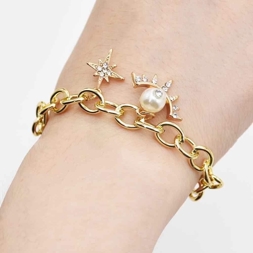Модная Морская ракушка Морская звезда искусственный жемчуг нагрудник массивный браслет океанская раковина Кристалл манжета браслет и браслет ножной браслет летние пляжные украшения