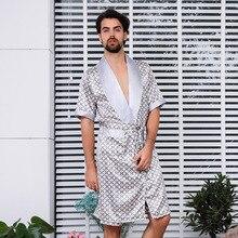 Кимоно купальный халат с принтом ночная рубашка для мужчин интимное нижнее белье домашнее платье Lougne ночная рубашка халат оверсайз 4XL 5XL
