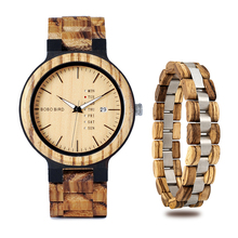 erkek kol saati BOBO BIRD Wood Men Watch Bracelet Set Week D