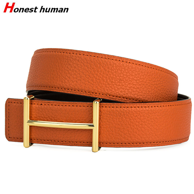 Designer Luxury Brand   Belt   for Mens Genuine Leather Male Casual Jeans   belt   H buckle Vintage Fashion High Quality Strap Waistband