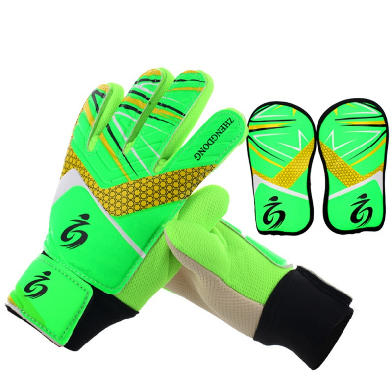 Hot Kids Football Soccer Goalkeeper Anti-Slip Training Gloves Breathable Gloves With Leg Guard Protector Gloves Sportswear