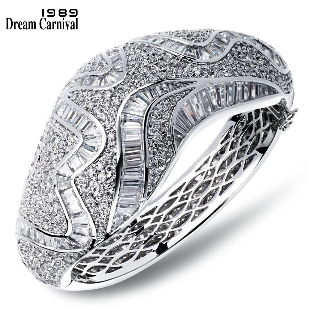 цена на DreamCarnival1989 Superior Luxury Zircon Channel Setting Bridal Wedding Jewelry Baguette Stones White Chunky Style Bangle YB0542