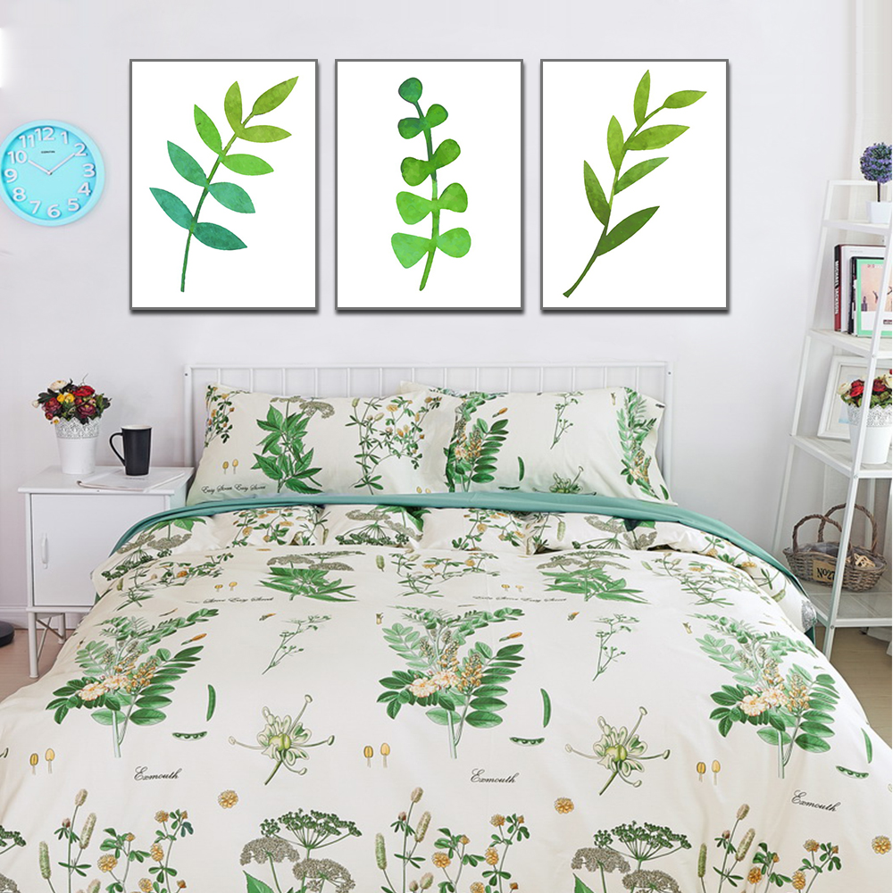 Unframed 3 Pictures HD Art Canvas Painting Plant Leaves Living Room Decoration Mural Fresh And Simplified Free Shipping