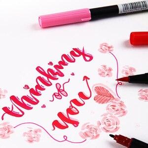 Image 4 - اليابان TOMBOW AB T الخط التوأم فرشاة فنية القلم مهنة المياه قلم تحديد للكتابة اليدوية حروف رصاصة بطاقة صنع