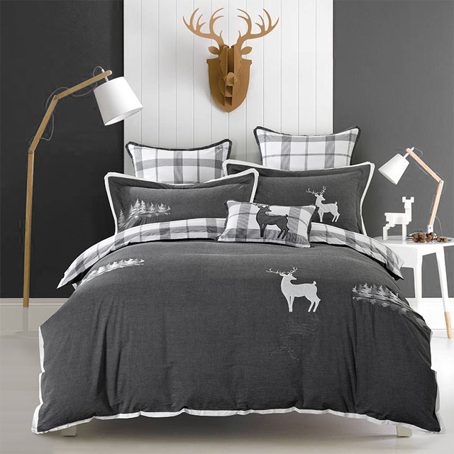 Queen King size Pure Cotton Grey Bedding sets Soft Bedclothes Embroidery Deer Penguin Bed sheet set Duvet cover Pillowcases 4Pcs