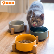 VOVOPET ceramic cats dogs Pet Feeder Bowl with wooden shief Protect cervical solid rounded  Food Dishs bowls