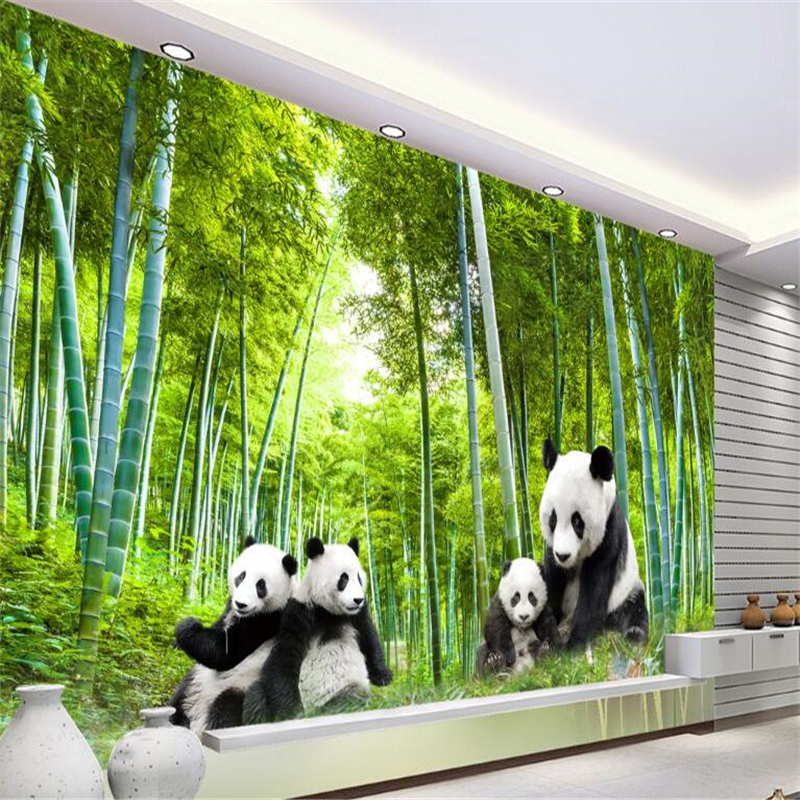 beibehang Custom National Treasure Panda 3d mural wallpaper bamboo forest scenery paper peint mural 3d wallpaper for kids room free shipping custom living room tv backdrop entrance bedroom wallpaper mural 3d stereo sofa forest scenery mural