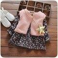 Crianças roupas de menina Roupas de Manga Longa de Impressão Floral da menina da criança Tops + Colete bonito 0-3 anos meninas roupas traje em estoque