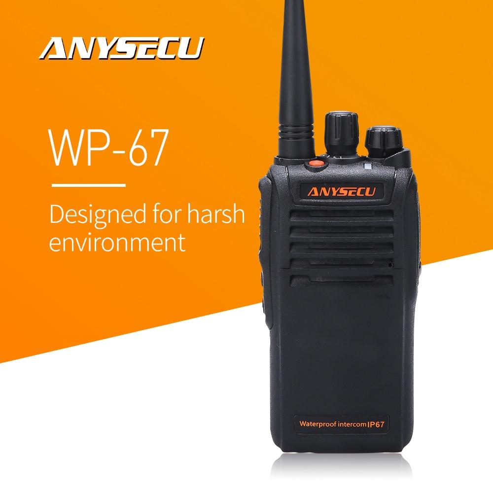 Anysecu Walkie Talkie WP-67 IP67 Waterproof Radio UHF 400-470MHz Two Way Radio With 2800mAh Battery Ham Radio