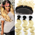 Ear to Ear Lace Frontal Closure With Bundles Ombre Peruvian Virgin Hair Body Wave 1b 613 Blonde Human Hair Weave With Frontals