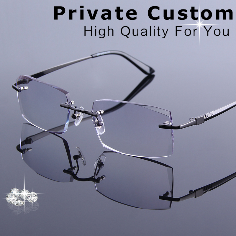 64b49aad72 High Quality Diamond Trimmed Eyeglasses Men Rimless Reading Glasses Frame  Male Tint Lens Optical Myopia Prescription Spectacles