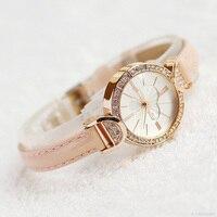 Dame vrouwen Horloge Mini Leuke Klok Hart Retro Mode Uur Jurk Armband Lederen Student Meisje Verjaardagscadeau Julius Doos 779