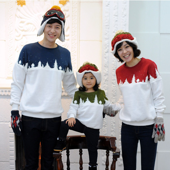 2015 new Mother/Daughter/father/son long sleeve t shirts for christmas snow pattern casual print sweatershirt top family hoodies