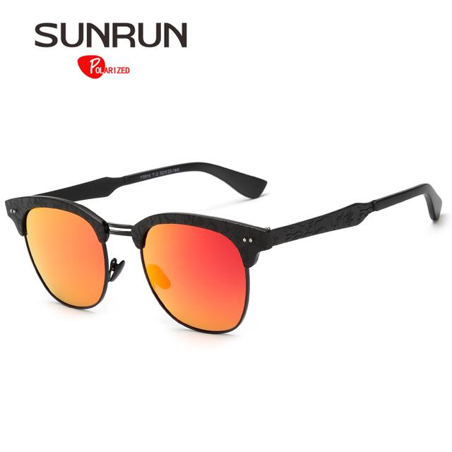 SUNRUN Mulheres Óculos De Sol Polarizados Armação De Metal com Padrão Espelhado Óculos de Sol Redondos para lentes de sol mujer Feminino Y9914