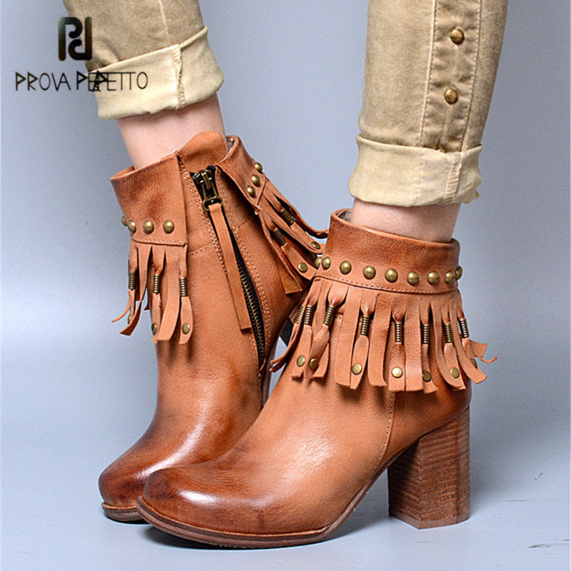 Prova Perfetto Rivets Fringed Autumn Winter Women Ankle Boots Brown Chunky High Heel Boot Retro Platform Rubber Botas Mujer jady rose brown fringed women chunky high heel boots suede slip on women rivets studded rubber boot platform autumn winter botas