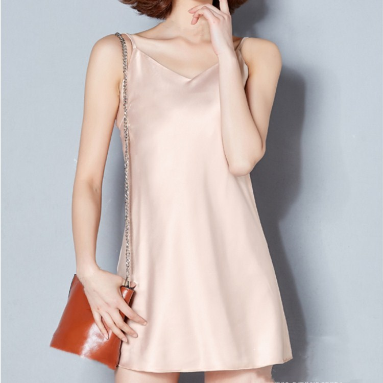 2019 New Fashion Summer Sleeveless Mini   Nightgowns   Female V-Neck Spaghetti Strap Slim Solid Sleepwear