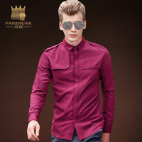 FANZHUAN Featured Brands Spring Autumn Dress Shirts High Quality Mens Casual Shirt Badge Pocket Men Slim