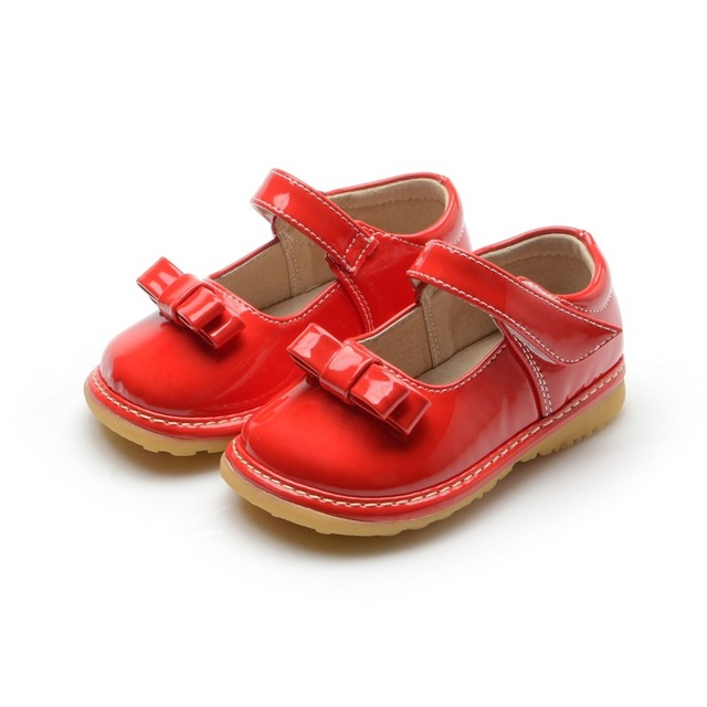 1-3Y Sping Autumn Bright Red Baby Soft Sole Squeaky Shoes Princess Girl Shoes Wedding Dress Shoes