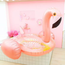 2019 New Giant Inflatable sequins rose gold flamingo floating row  water mount adult bed Boia Piscina Party Toys