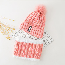 Winter Women Hat Beanies Womens Skullies Pink Solid Faux Fur And Scarf For Pom Letter B
