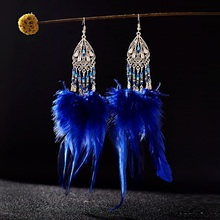 TopHanqi Jhumkas Indian Jewelry Bohemian Ethnic Natural Feather Long Tassel Drop Earrings For Women boucle doreille femme 2019