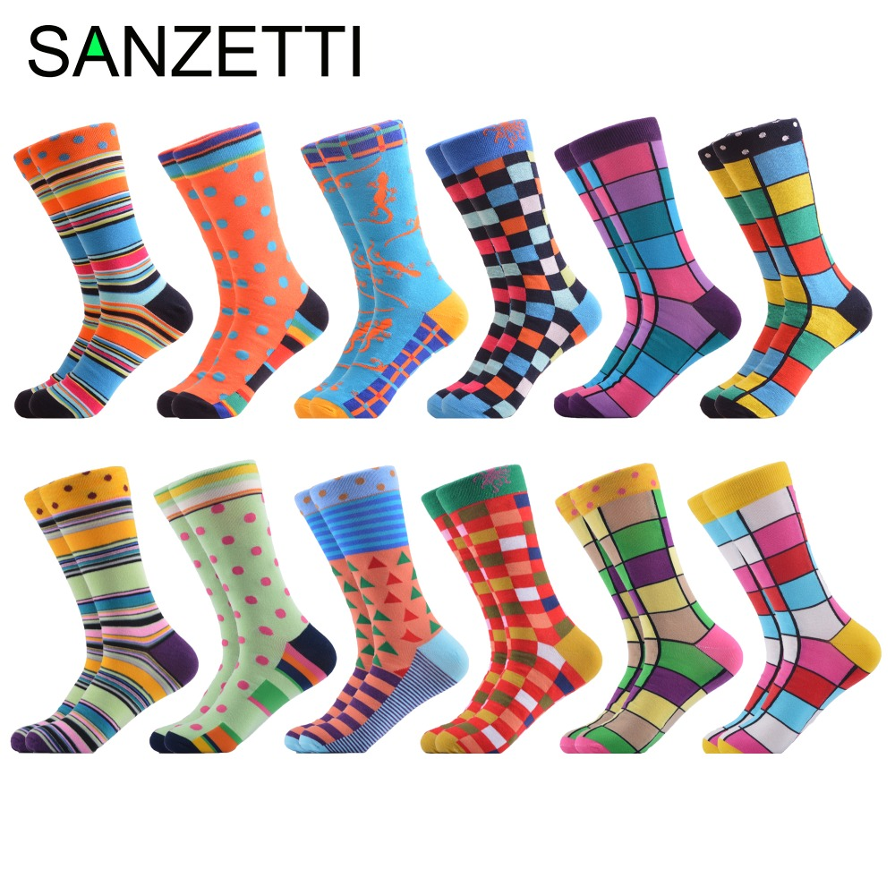Sanzetti 12 Pairs/lot Novelty Combed Cotton Mens Crew Party Socks Dot Stripe Grid Pattern Funny Dress Causal Wedding Socks Men's Socks