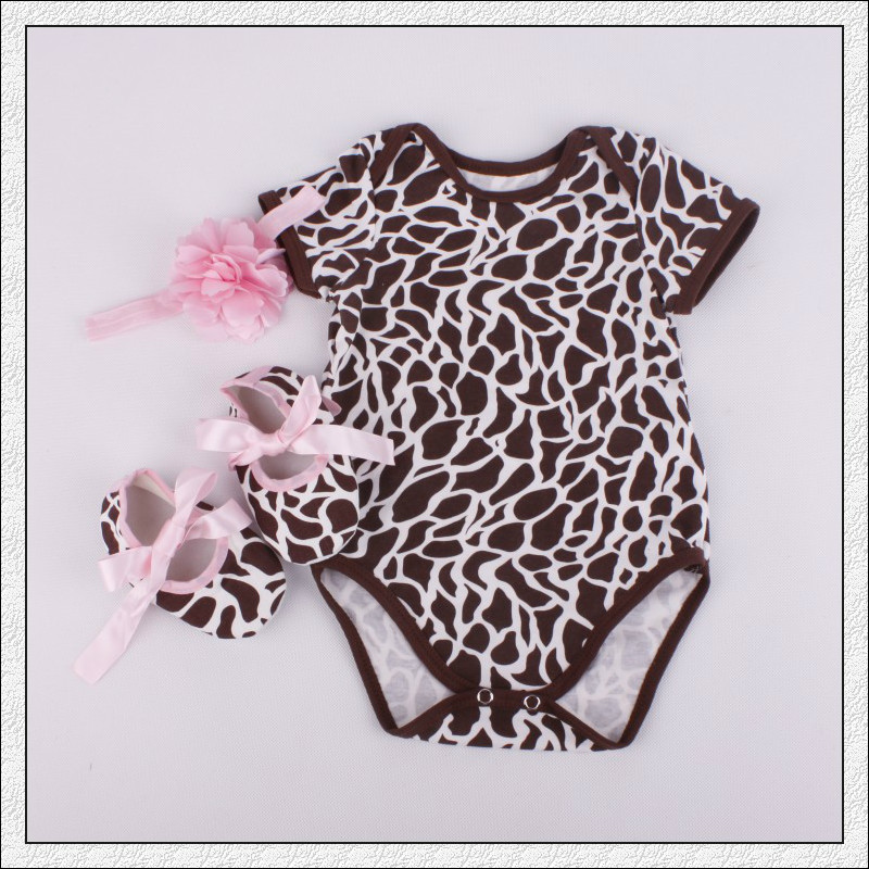 6a126 3 pcs Leopard Baby Girls Clothing Sets Summer rompers + shoes + Headbrand wholesale kids toddler clothes