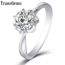 Transgems 14K 585 White Gold 1ct 6.5mm F Color Moissanite Engagement Ring for Women Wedding Gift Ladies Moissanite Ring цена в Москве и Питере