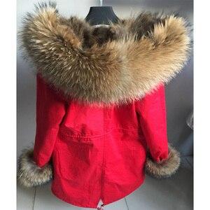 Image 3 - Maomaokong אמיתי שועל פרווה מעיל חורף מעיל נשים ארוך Parka טבעי דביבון פרווה צווארון הוד עבה חם נדל פרווה אניה מעיילי