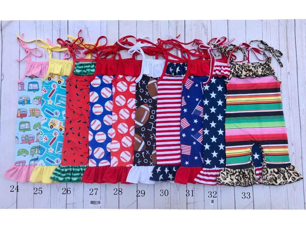 wholesale bulk new style spring floral summer watermelon tie strap capris baby girls ruffle romper 4th of july baby jumpsuit