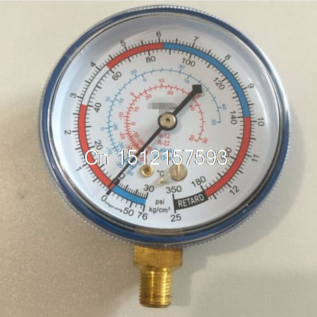 1/8 70mm Blue Low Pressure Refrigeration Freon A/C Manifold Gauge Low R-12/R-22/R-502(R-404A/R-134a) 0-220/350Psi 0-15/25kg/cm2 купить