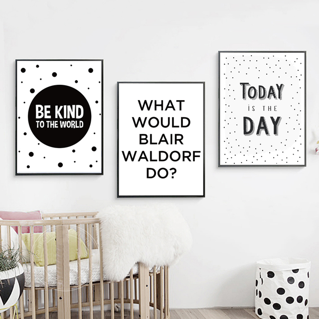 Nordic nursery quotes canvas paintings black white modern minimalist posters prints pop wall art kids room