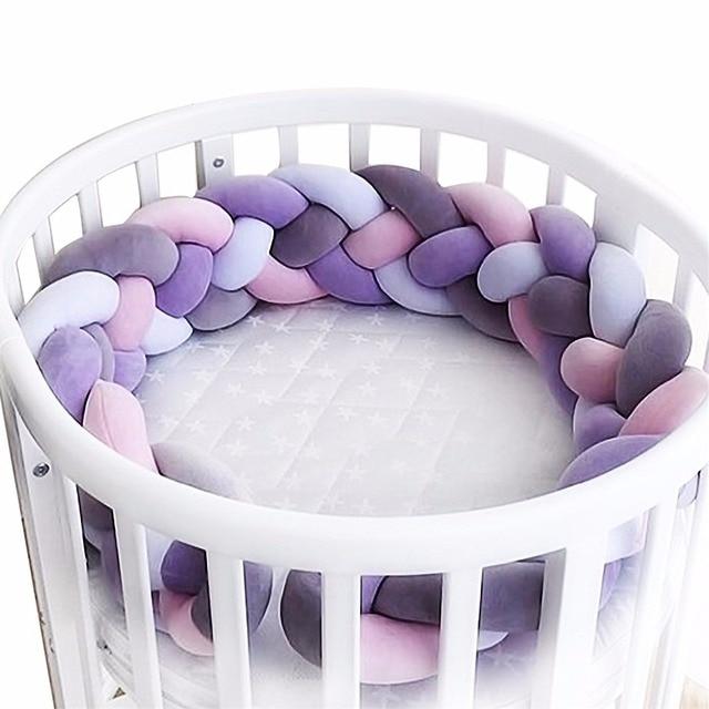 Longitud 300 cm bebé cuna parachoques anudado trenzada felpa cuna decoración regalo recién nacido almohada cojín cama Junior sueño parachoques