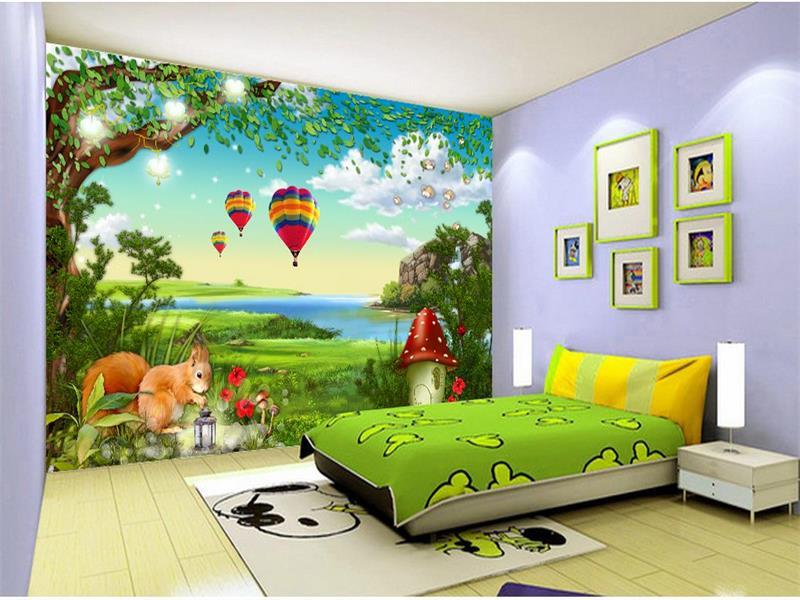 US $14.54 51% OFF|Custom 3d foto tapete kinderzimmer wandbild cartoon wald  eichhörnchen 3d malerei TV sofa hintergrund vlies tapete für wand 3d-in ...