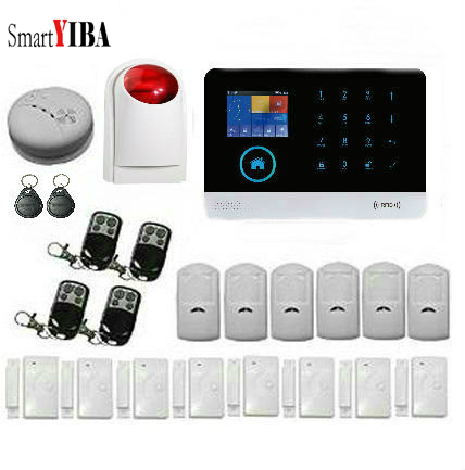 SmartYIBA Smart Home SMS GSM Burglar Alarm System Wireless Door Sensor /RFID Keypad Arm Disarm/Smoke Sensor APP Door AccessoriesSmartYIBA Smart Home SMS GSM Burglar Alarm System Wireless Door Sensor /RFID Keypad Arm Disarm/Smoke Sensor APP Door Accessories