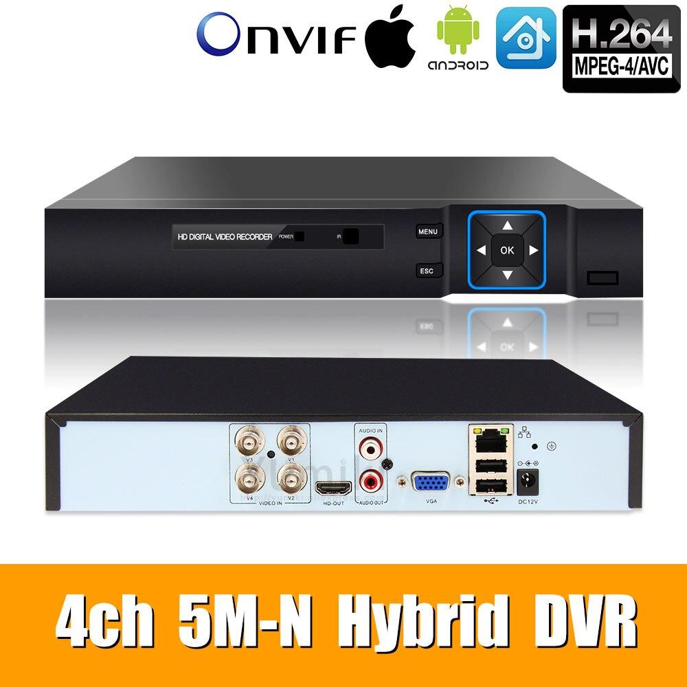 5M-N 5 In 1 4CH AHD/TVI/CVI/CVBS/IP  DVR Security CCTV Video Recorder P2P VGA HDMI For Ip Camera Xmeye