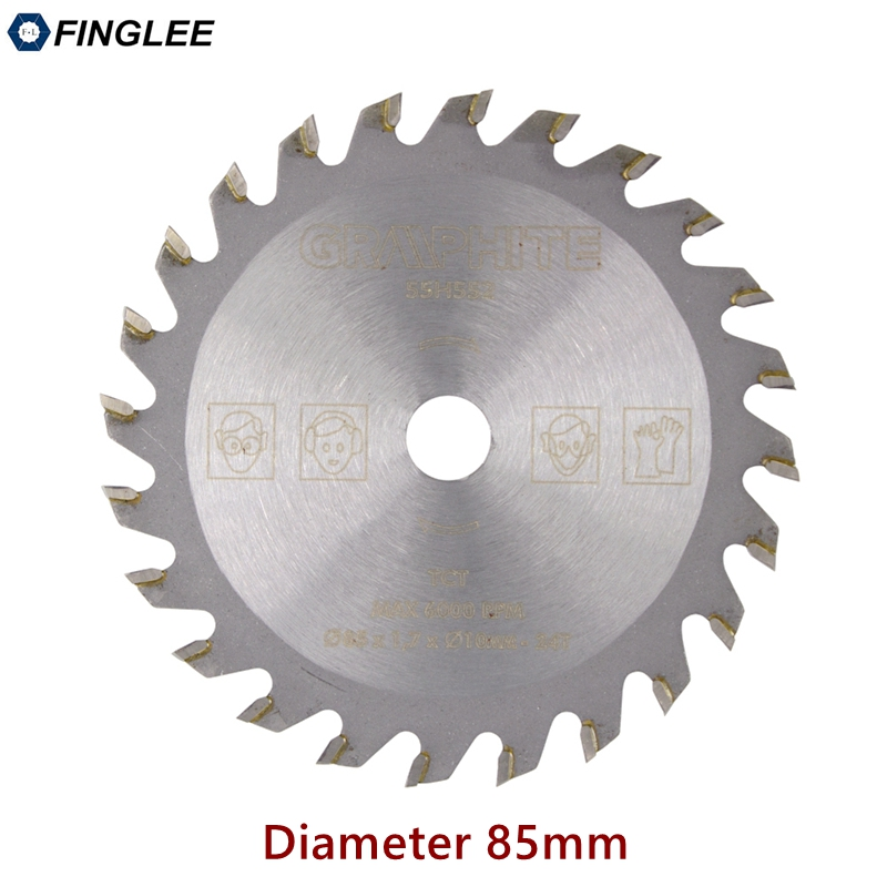 FINGLEE 1Pc 85mm TCT Woodworking Mini Circular Saw Blade Acrylic Plastic Cutting Blade General Purpose For Wood