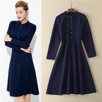 2017 autumn high quality italian clothing long sleeve dress women solid color purplish blue cotton dresses designer ladies frock