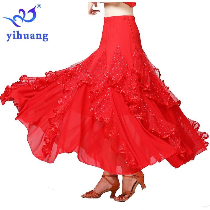 Modern Dance Dress Mesh Long Sleeve National Standard Dance Waltz Chiffon Big Swing Skirt Performance Clothing
