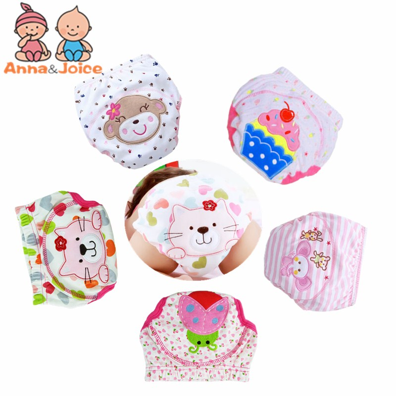 6pcs/lot Baby Girls  Waterproof Learning Pants  Girls' Toilet Training Baby Pants 6 Designs Mix Can Be Reused