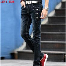 Hot men's jeans pencil pants stretch jeans men's brand casual Slim pants tight boys men's buttons denim trousers blue black