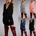 Lady Loose Casual V Neck Long Sleeve Pullover Pocket Shirt Dress Top Blouse