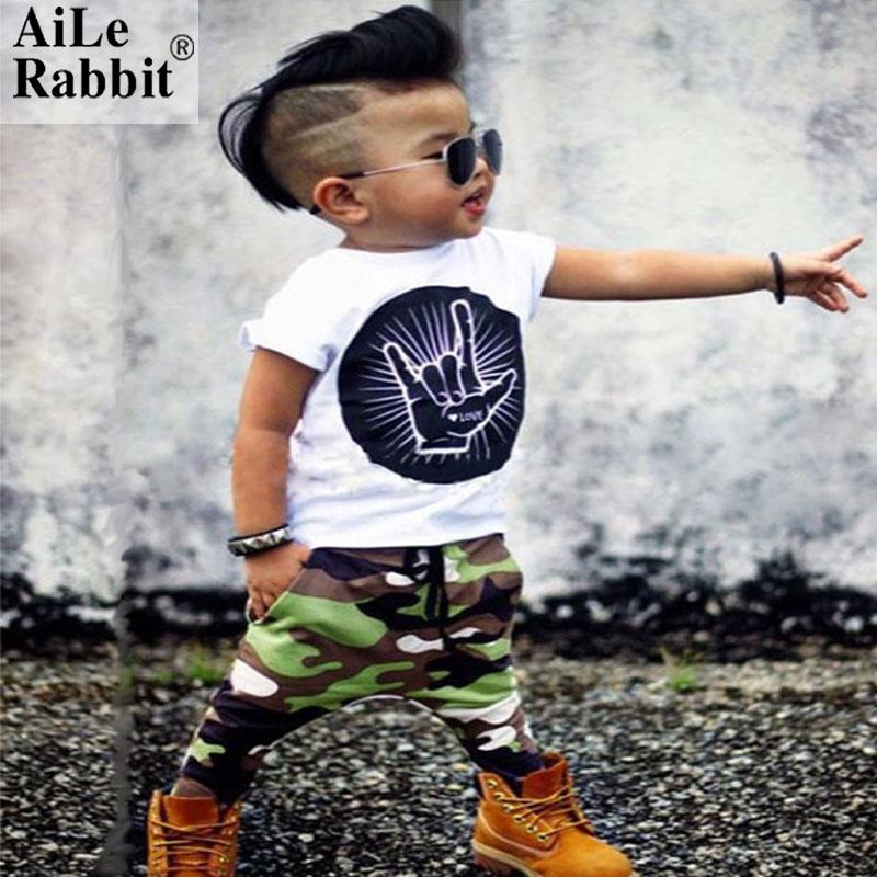 AiLe Rabbit INS Boy Clothes Set Fashion Camouflage Sports Casual T-Shirt with Pants 2-piece Cotton Baby Boy Clothes Suits