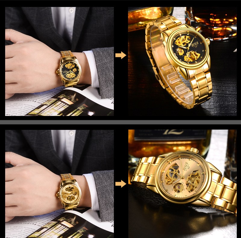 HTB1afZVbgaH3KVjSZFpq6zhKpXaw Men's Watches Automatic Mechanical Gold Watch Male Skeleton Dial Waterproof Stainless Steel Band Bosck Sports Watches Self Wind