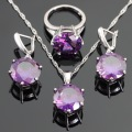 Round Created Purple Amethyst Silver Color Jewelry Sets For Women Christmas Necklace/Pendant/Rings/Earrings Free Gift Box