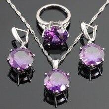 Ronda Creado Amethyst Púrpura de Plata Sistemas de La Joyería Para Las Mujeres de Color de Navidad Collar/Pendiente/Anillos/Pendientes Regalo caja