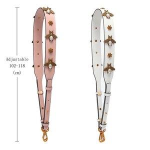 Image 4 - Mode or abeille bracelet en cuir PU sac à main accessoires remplacement large sac à bandoulière sangles femmes conception Corssbody sac sangle ceinture