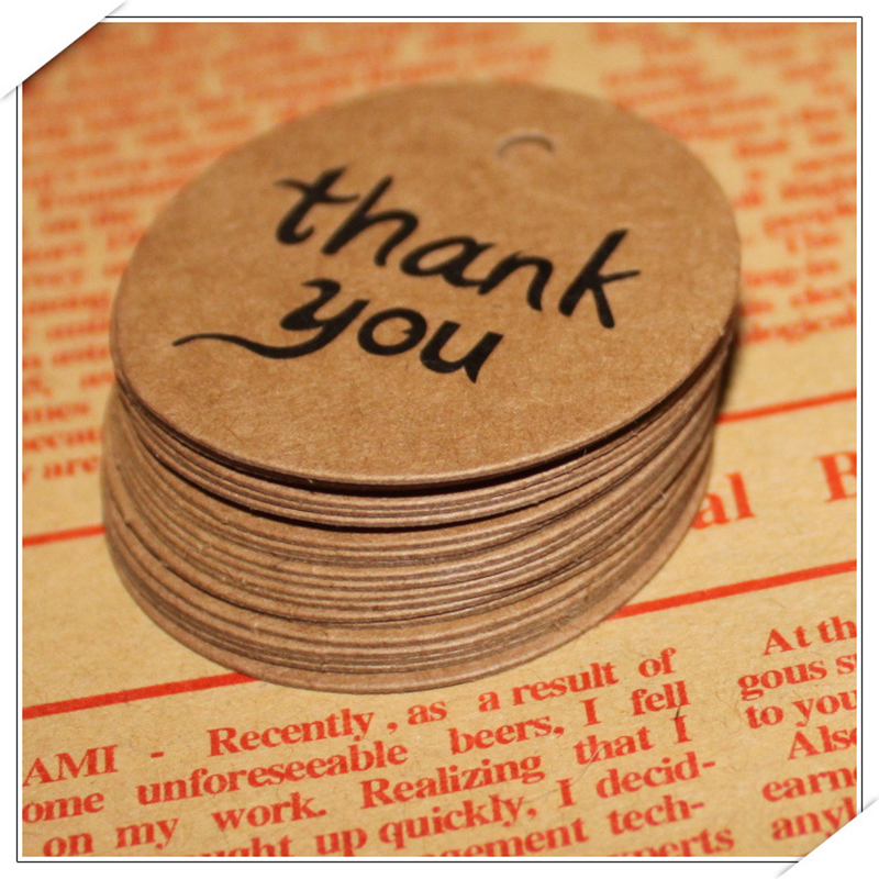 100pcs Thank You Kraft Paper Tag Wedding Gift DIY Label Card Party Favor Gift Decorations 4cm Diameter