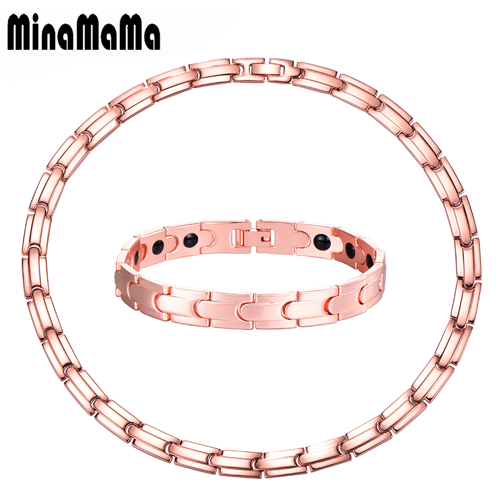 Rose Gold Color Stainless Steel Germanium Womens Jewelry Set Energy Balance Health Care Chunky Chains Necklace Bracelets Sets цена